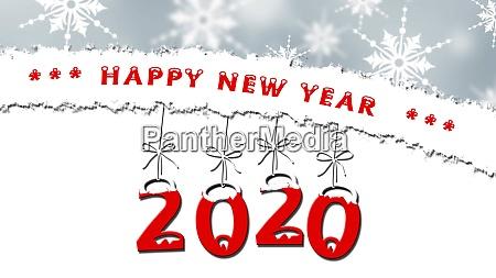 jahr zur jahreswechsel 2020 schneeflocken auf