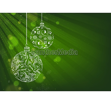 green xmas background with christmas balls