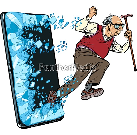 alten mann pensionierten grossvater telefon gadget
