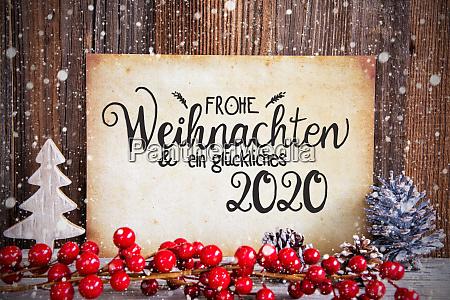 weihnachtsdekoration papier mit text glueckliches 2020
