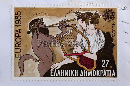 apollo und satyr briefmarke