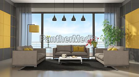 graues und gelbes modernes wohnzimmer
