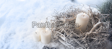 burning candles in winter