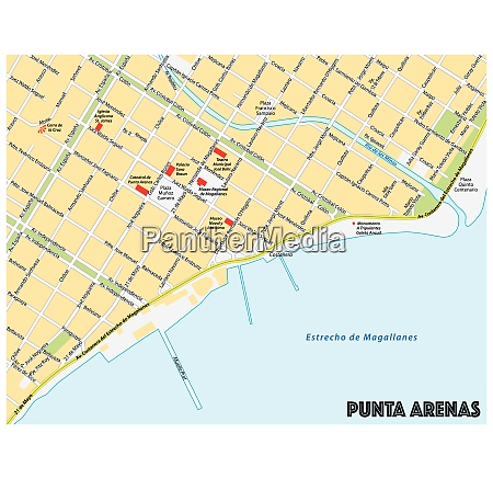 stadtplan der suedlichen chilenischen stadt punta