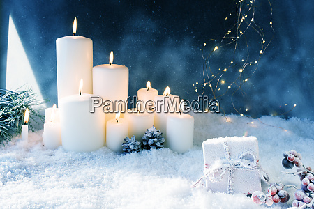 christmas decoration in snowy winter night