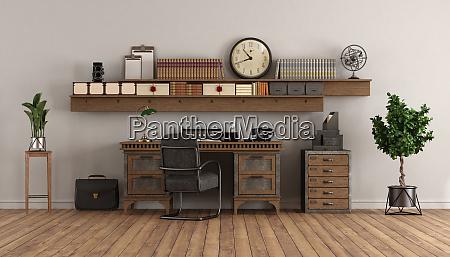 home office im retro stil mit