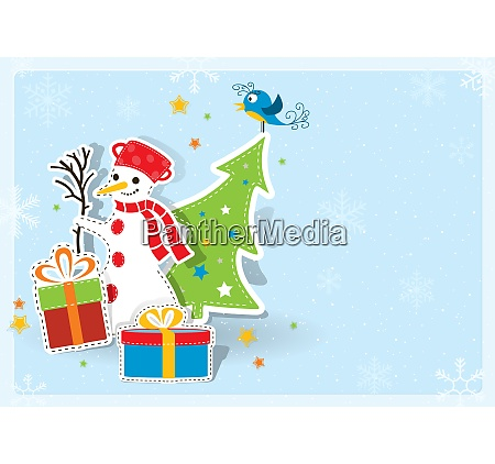 christmas greeting card on blue background