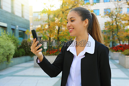 positive young business woman take a
