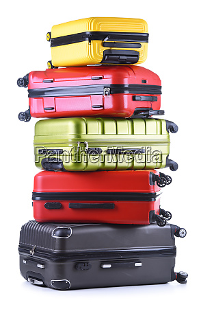 travel suitcases isolated on white background