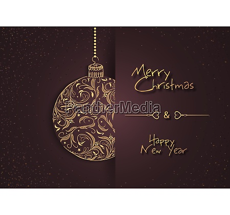abstract greeting card with floral xmas