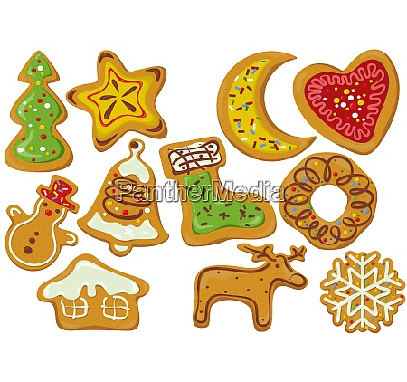 set of decorated gingerbread christmas cookies