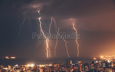 beautiful lightning over night city