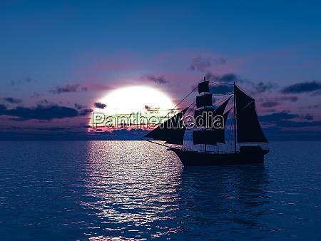 3d rendering eines schiffes auf see