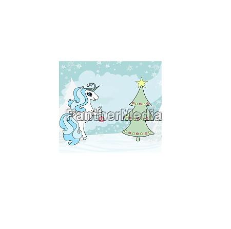 suesses einhorn schmueckt den weihnachtsbaum
