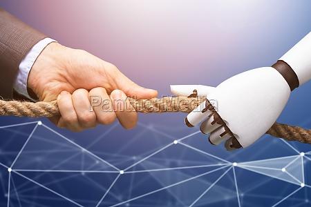 mann im wettbewerb mit dem roboter
