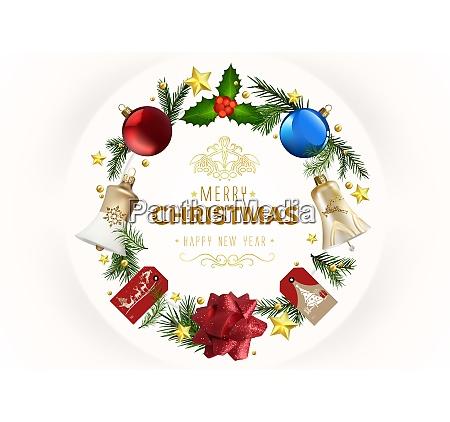 moderne weihnachts grusskarte mit xmas ornamente