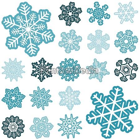 sammlung verschiedener abstrakter schneeflocken fuer weihnachts