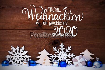 weihnachtsbaum blauer ball schnee glueckliches 2020