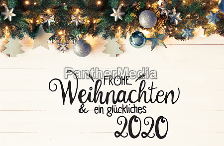 retro turquoise christmas banner calligraphy glueckliches