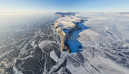 aerial view of frozen baikal lake