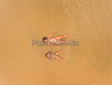 aerial view of two girls having