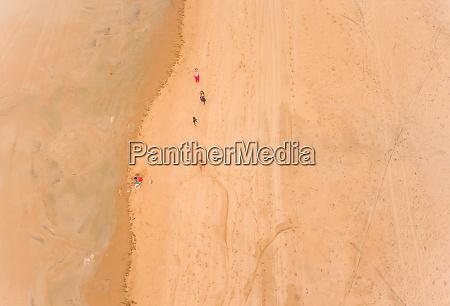 aerial view of people walking on