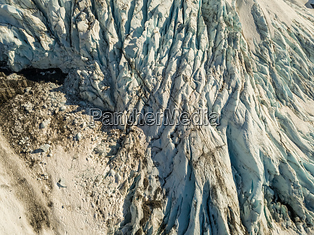 aerial view of glacial mountain during