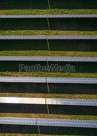 luftaufnahme ueber solarpanel reihen bei tageslicht