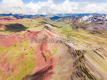 aerial panoramic view of colourful vinicunca