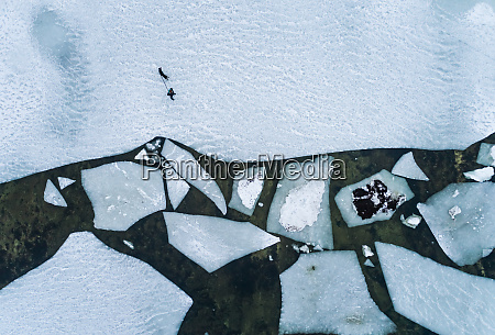 aerial view of a man walking