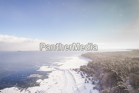 aerial view of windy snowy coast