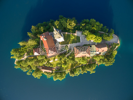 aerial view of bled in slovenia