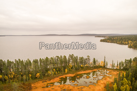 aerial view of pallasjaervi lake and