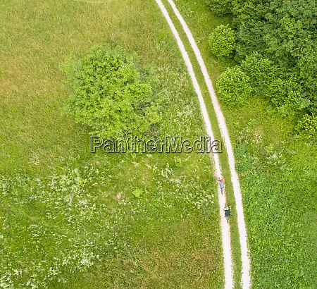 aerial view of cyclists on a