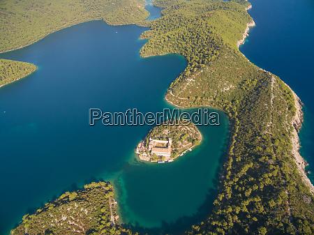 aerial view of monastery of saint