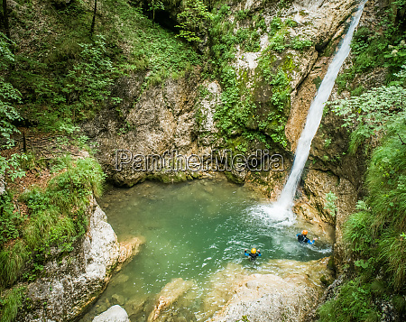 aerial, view, two, men, canyoning. - 27454663