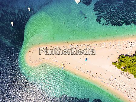 aerial view of zlatni rat beach