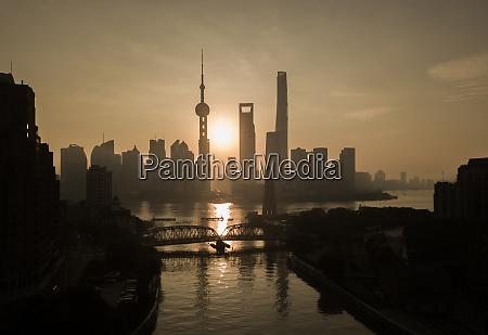 luftaufnahme der skyline von shanghai bei