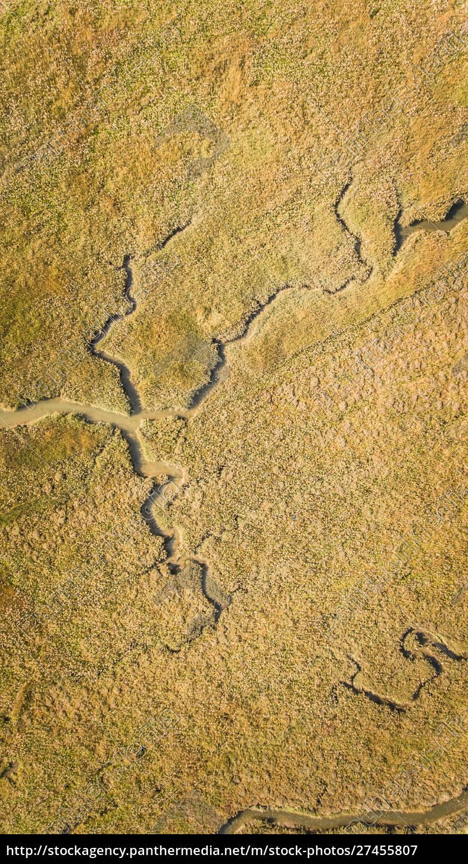 abstrakte, luftaufnahme, der, feuchtgebietslandschaft.. - 27455807