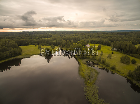 aerial view of a small lake