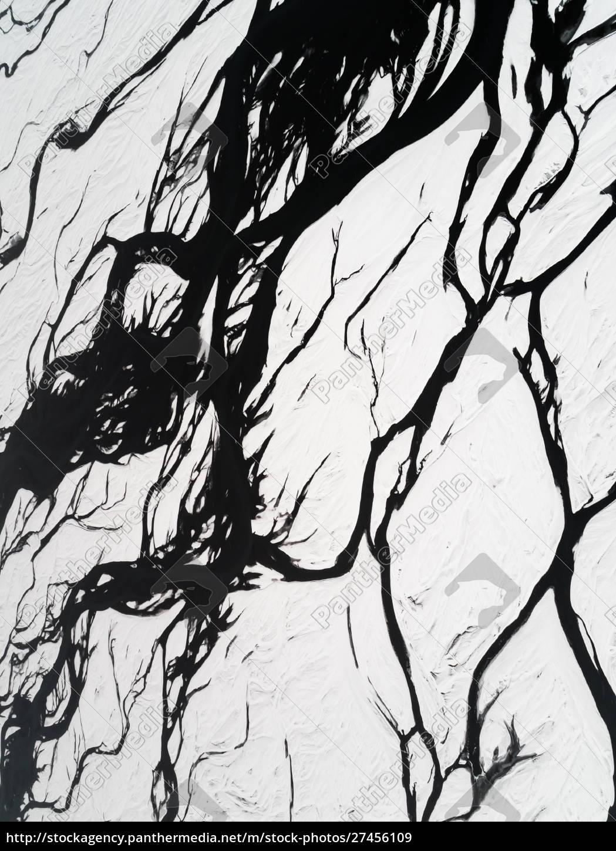 abstrakte, luftaufnahme, des, wasserzuflusses, im, schnee. - 27456109