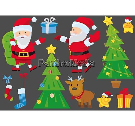 set of isolated christmas design elements