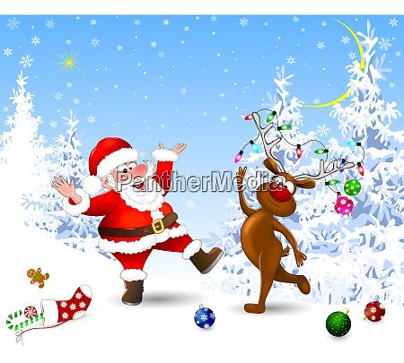 froehlicher weihnachtsmann und hirsche feiern weihnachten