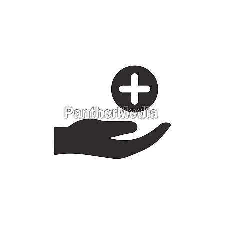 hand with pharmacy cross flat icon