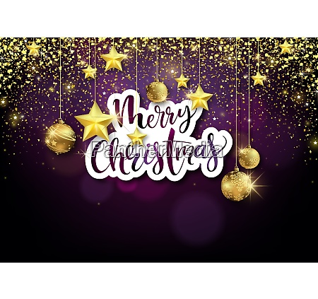 merry christmas background with golden decoration