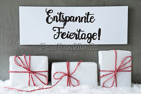 drei geschenke zeichen schnee entspannte feiertage