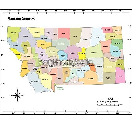 montana state skizzieren administrative und politische