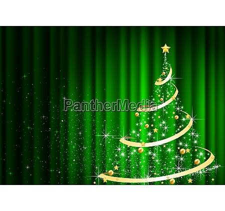 abstrakter, weihnachtsbaum, vor, dem, grünen, vorhang - 27464248