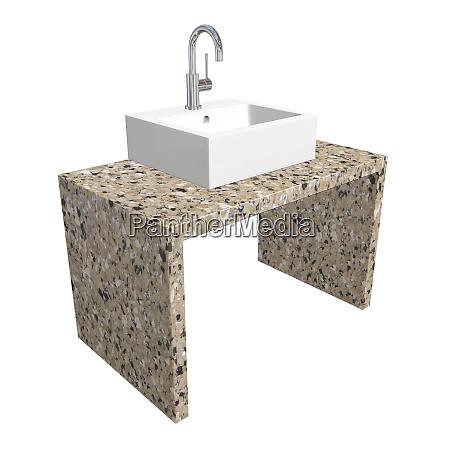 modernes waschbeckenset mit keramik oder acrylwaschbecken