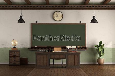 leeres klassenzimmer im retro stil mit
